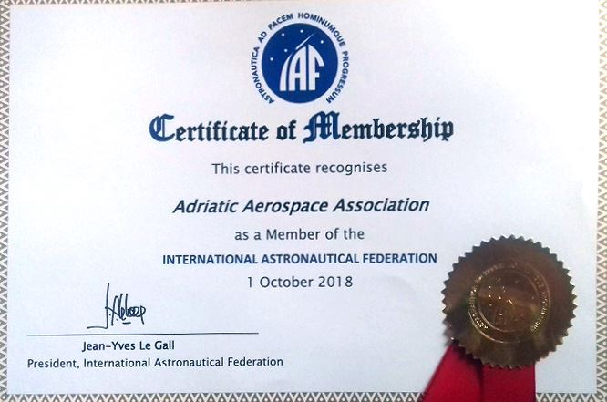 Certificate of Membership - A3 as a Member of the International Astronautical Federation